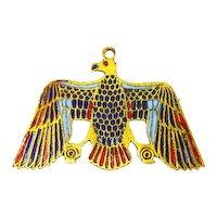 Czechoslovakian Enamel and Brass Egyptian Revival Pin – Falcon God – Horus – 1920s