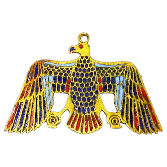 Czechoslovakian Enamel and Brass Egyptian Revival Pin – Falcon God – Horus – 1920s
