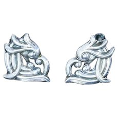 Mexico Sterling Silver Repoussé Earrings – signed AE inside Heart-Shaped M – 1950s/1960s