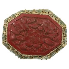 Cinnabar Pin/Dress Clip – Early Chinese Export – Enamel and Filigree Mesh – 1910 – 1920s