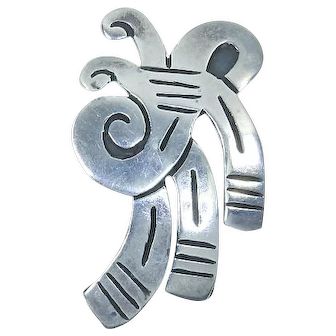Sterling Silver Abstract Brooch – Taxco Mexico Signed – pre-Eagle