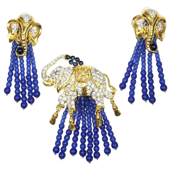 Elizabeth Taylor Elephant Brooch and Earrings – 1993 – Rare and Stunning
