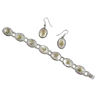 Vintage Chinese Character Bracelet and Earrings – Blessings – Mother-Of-Pearl and Sterling – Hong Kong – mid Century