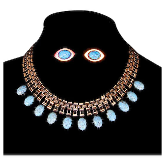 Copper Link and Blue Art Glass Cabochon Necklace and Earrings – Mid Century Modern