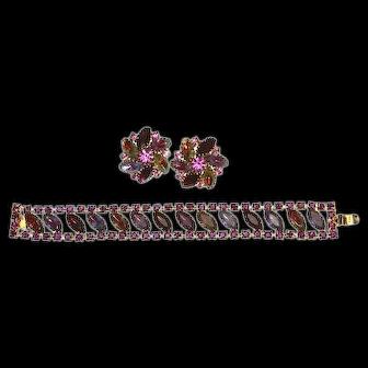 Fabulous Givre Bicolor Bracelet and Earrings – Watermelon and Purple/Blue Navette Rhinestones