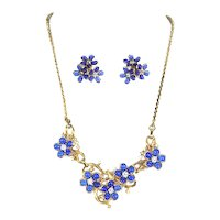Blue Flowers and Rhinestones – Necklace and Earrings – late 1940s/early 1950s – likely Coro