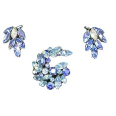 Regency signed Swirling Comet Pin and Earrings – Blue and Aurora Borealis Rhinestones