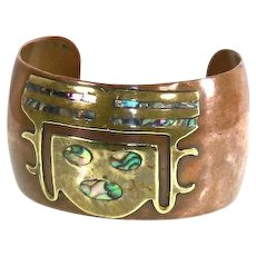 Mexico Copper/Brass Mixed Metal Cuff Bracelet – Abalone Inlay – Pre-Columbian Motif