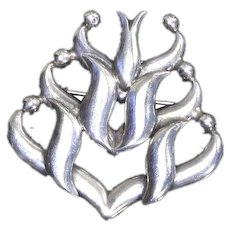 Mexico Sterling Silver Pin – signed ARS Cuauhtemoc – Used Salvador Teran Designs – Yucca/Century Plant