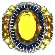 Trifari Invisibly Set faux Sapphire Baguettes, faux Citrine and Topaz Pin – 1938 – 1942