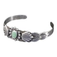 Fred Harvey Era Cuff Bracelet – Turquoise and Coin Silver .900 – 1930s
