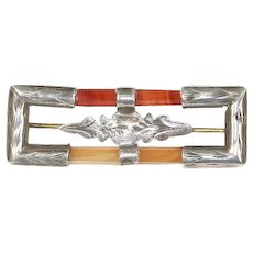 Victorian Scottish Agate and Engraved Sterling Bar/Frame Pin – ca. 1870 – 1890