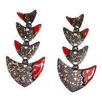 Fish Figural Enamel Dangle Pierced Earrings – Modernist – Huge – 1980s