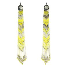 8 Inch Long Dangle Earrings – Micro Bead and Sterling – Native American/Southwestern Style
