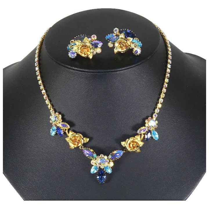 Weiss Unsigned Necklace And Earrings Blue Rhinestones Gold Tone Roses 1960s