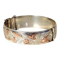 Sterling Silver and Rose Gold Vermeil Hinged Bangle Bracelet – Native American – Signed ML
