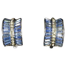 Invisibly Set Blue Baguette Earrings – Crescent Shaped – Patent Number 156, 452 – 1949