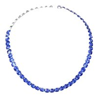 Eisenberg signed Sky-Blue Crystal Necklace – Choker Style – late 1940s/1950s