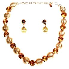 Kramer signed Faux Topaz Necklace and Dangle Earrings – Mid Century Modern