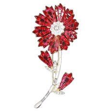 Trifari Alfred Philippe Invisibly Set Ruby Red Rhinestones Flower Brooch – 1961