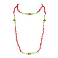 Art Deco Czech/Bohemian Red and Green Art Glass Necklace – 48 Inches Long