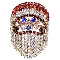 Rhinestone Santa Claus Pin – unsigned Dorothy Bauer – Christmas