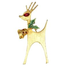 MYLU Reindeer Holiday/Christmas Pin – Red Rhinestone, Enamel, Gold Tone – 1960s – Book Piece