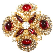 Hattie Carnegie Poured Glass faux Ruby, Pearl, and Diamante Brooch – 1948 – 1955