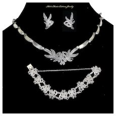 "Margot de Taxco ""Leaf and Ribbons"" – Full Set – Necklace, Bracelet, Earrings – Sterling Mexico – #5346 – Book Piece"