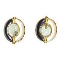 KYLO-Kai Yin Lo – Sterling Vermeil Pierced Earrings – Rock Crystal, Hematite, Mother-Of-Pearl – 1980s