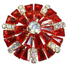 Delizza and Elster Juliana Verified Brooch – Round with Keystones – Bright Orange – Book Piece – Rare