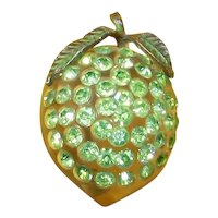 Forbidden Fruit Lime Pin – Green Rhinestones and Lucite – Book Piece