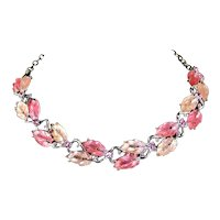 Lisner Double Leaf Pink Lucite Necklace – Glowing
