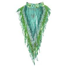 Hand Beaded Monumental Bib/Fringe Necklace – Native American style