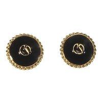 Stunning signed St. John Earrings – Logo on front – Black Enamel/Gold Tone
