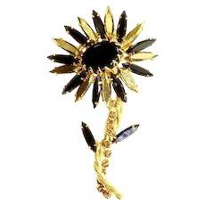 Schreiner unsigned Gold Arum and Black Flower Brooch