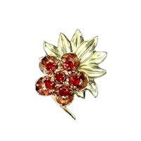 Sterling Silver Vermeil Rose and Yellow Gold Flower Brooch – 1940s – Retro