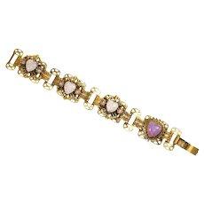 Victorian Revival faux Opal Hearts Panel Bracelet