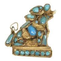 Tibetan/Nepal Foo Dog Lion Pin – Brass/Turquoise Glass – 1930s