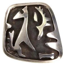 Sterling Shadowbox Pin/Pendant –'Dog Howling at Moon' –Taxco Mexico – signed JS – 1960s/70s