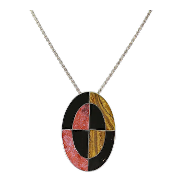 Sterling and Inlay Stone Pendant/Pin – Red Jasper, Tiger Eye, Onyx