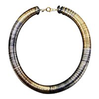 Trifari Disc Choker Necklace – Mid Century Modern – faux Silver, Gold, Pewter
