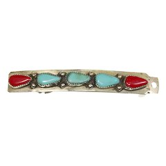 Native American Turquoise and Red Coral Barrette/Hair Clip – likely Navajo