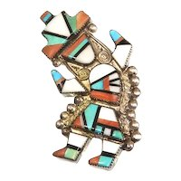 Zuni Native American Inlay Rainbow Dancer Pin – Turquoise, Jet, Spiny Oyster – Handcrafted – 1940s