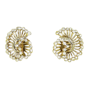 Crown Trifari Mid Century Modern Swirling Comet Earrings – 1960s – Rhinestones