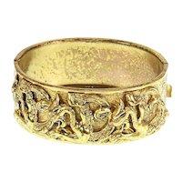 Dragon Motif Hinged Bangle Bracelet – Renaissance Revival Style – 1950s/1960s
