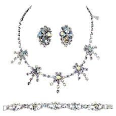 Blue Aurora Borealis Three-Piece Set – Necklace, Earrings, Bracelet – unsigned Weiss – 'Sputnik' Motif – late 1950s/early 1960s