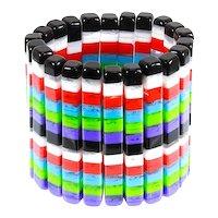 Huge Lucite/Acrylic Stretch Bracelet – Vibrant Colors – 1970s/1980s