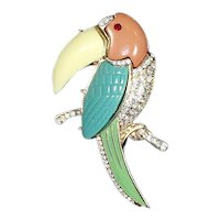 Kenneth Jay Lane KJL Macaw/Toucan Pin – Resin and pave Rhinestones – Book Piece