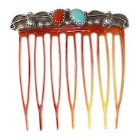 Vintage Navajo Native American Hair Comb – Sterling silver, Turquoise, Coral – Petite